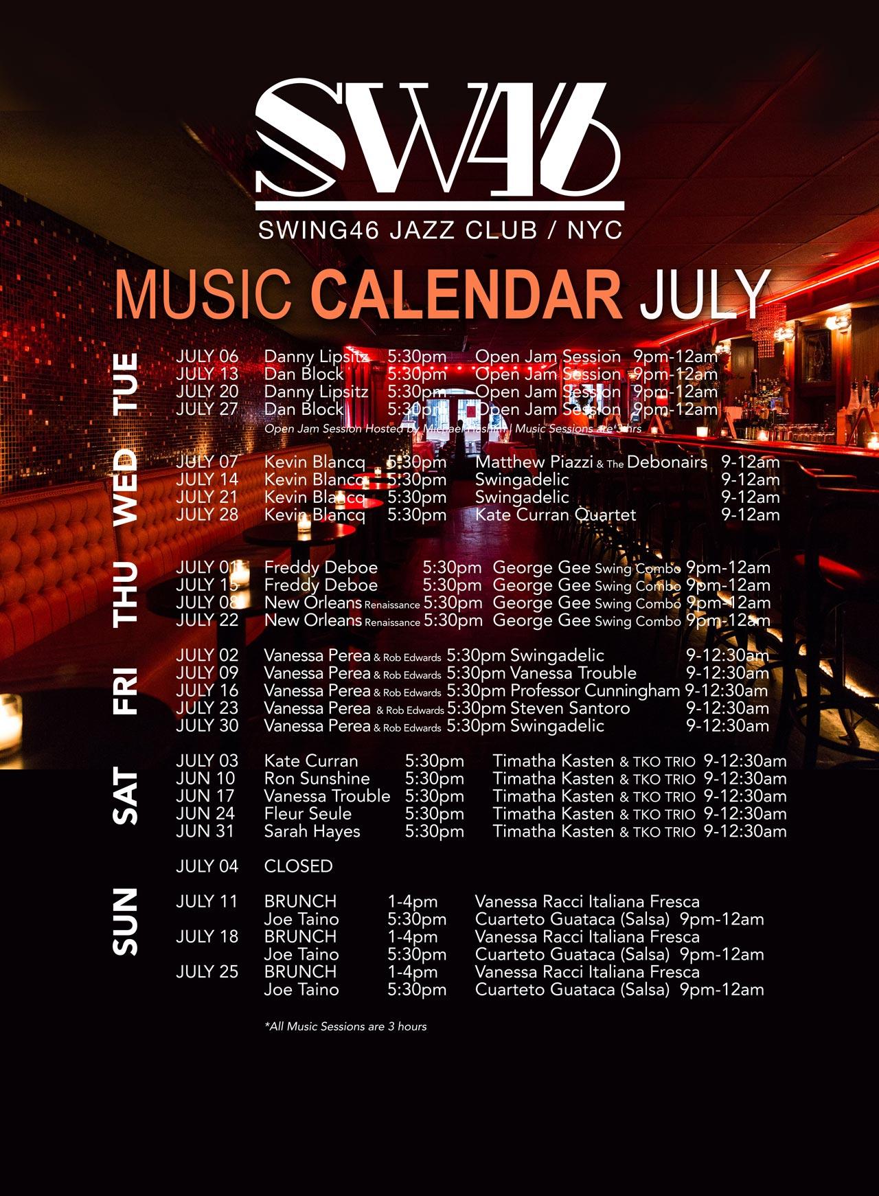 MUSIC CALENDAR POSTER JULY